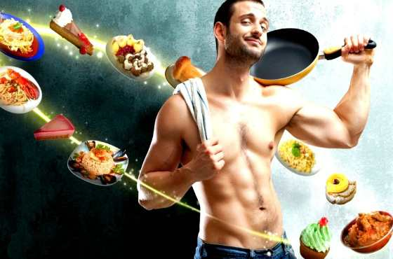 мужчина со сковородой