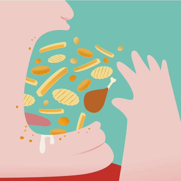 Иллюстрированный человек еды
