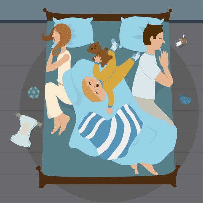 Иллюстрация родителей с ребенком на кровати