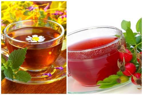 травяной чай и настой шиповника