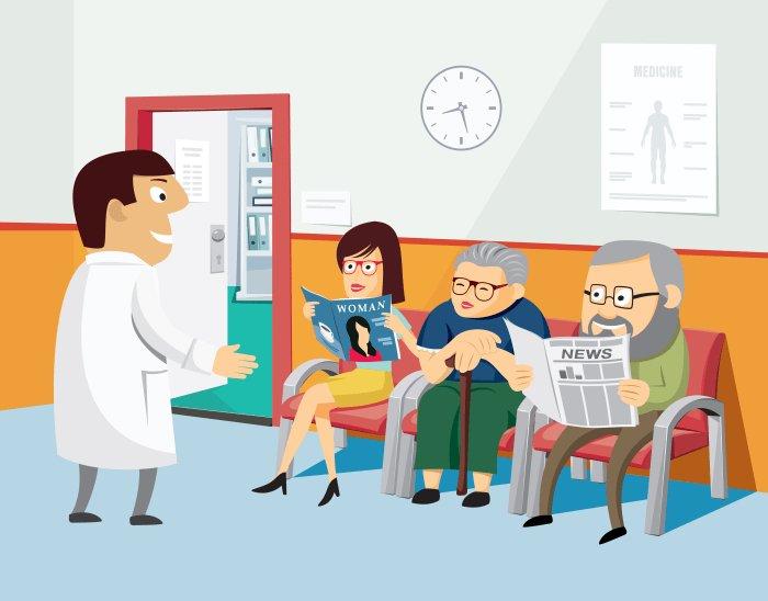 Иллюстрация зала ожидания в фонде здоровья