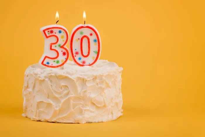 Торт на день рождения со свечами для 30 лет