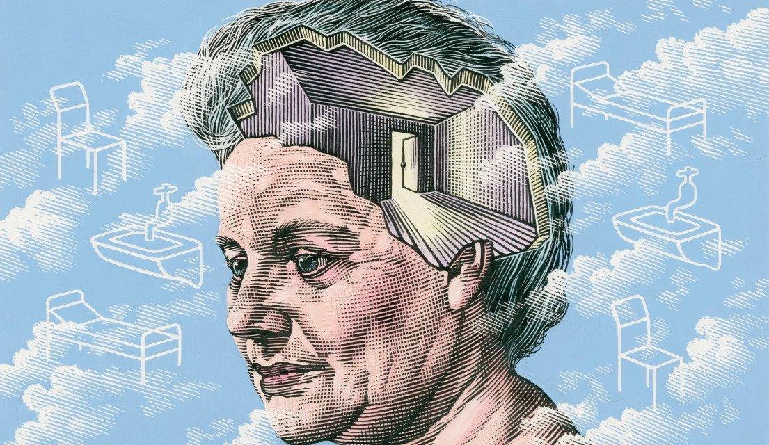 Иллюстрация болезни Альцгеймера. Пожилая женщина с «открытым» умом, которая видит комнату с открытой дверью