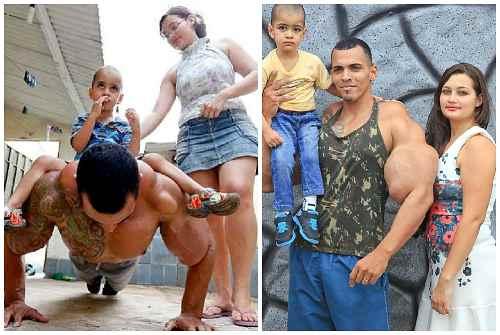 с сыном и женой