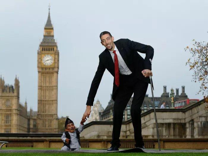 Самый низкий в мире человек и самый высокий человек в мире на встрече рекордов Гиннеса в Лондоне, ноябрь 2014 года