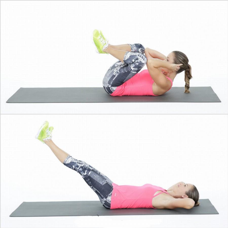 Упражнение на пресс «локоть-колено»