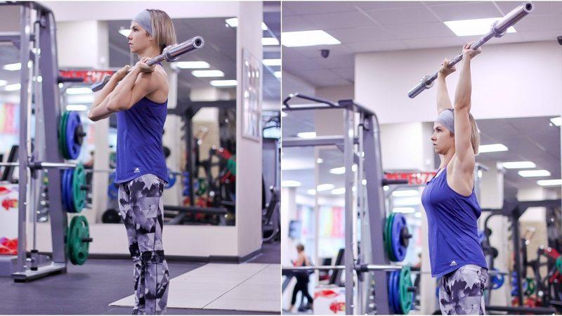 Жим штанги стоя с груди: особенности упражнения и техника выполнения