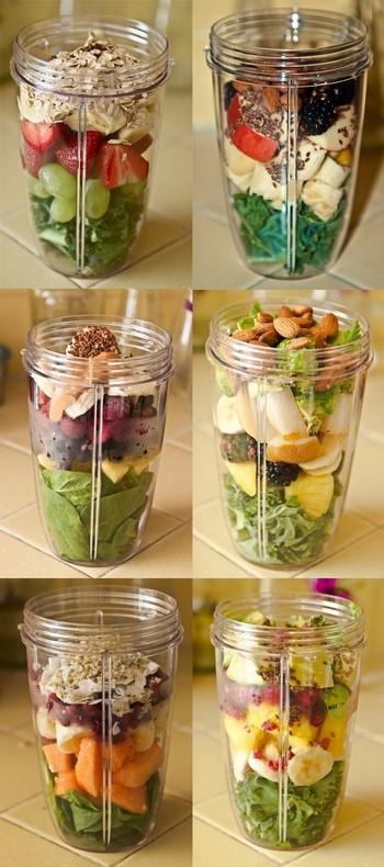 Полезные миксы из фруктов и ягод в стаканах