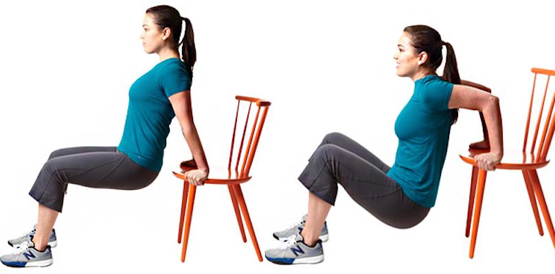 Отжимания спиной от стула
